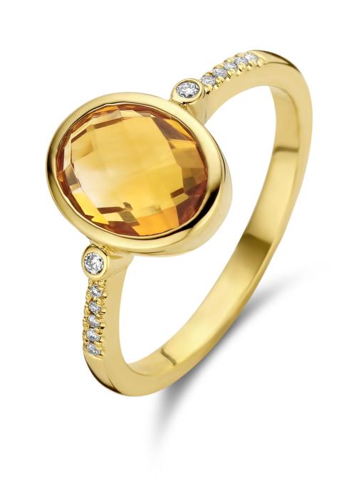 Diamond Point Geelgouden ring, 1.88 ct oranje citrien, Philosophy