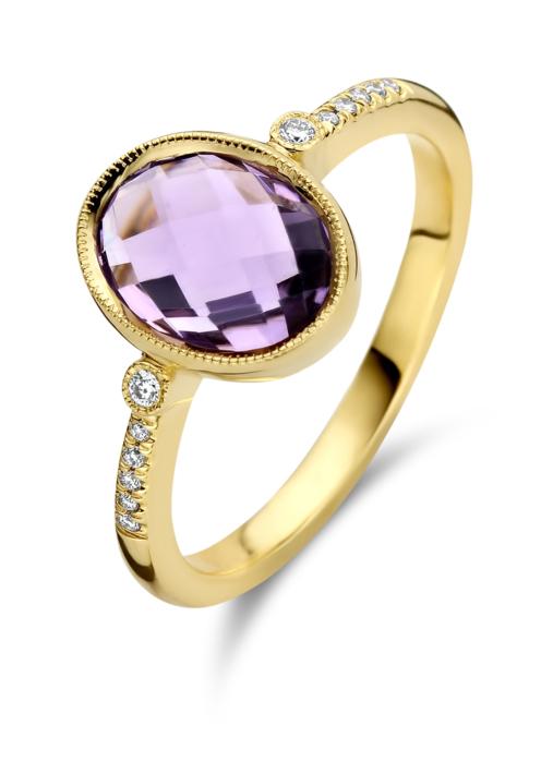 Diamond Point Geelgouden ring, 1.83 ct amethist, Philosophy