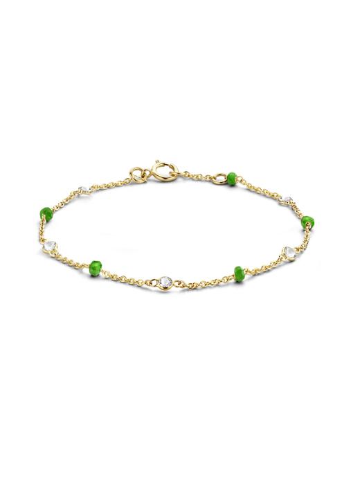 Diamond Point Geelgouden armband 0.64 ct smaragd Jolie