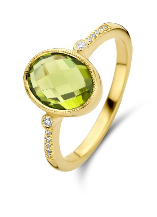 Diamond Point Geelgouden ring, 2.22 ct peridoot, Philosophy