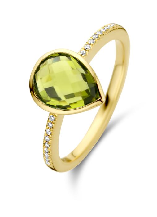 Diamond Point Geelgouden ring, 2.18 ct peridoot, Philosophy