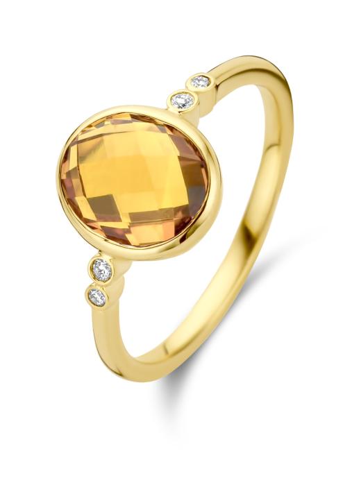 Diamond Point Geelgouden ring, 1.85 ct oranje citrien, Philosophy