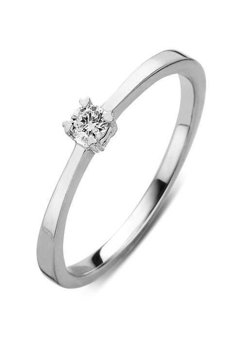 Diamond Point Witgouden ring, 0.15 ct diamant, Starlight