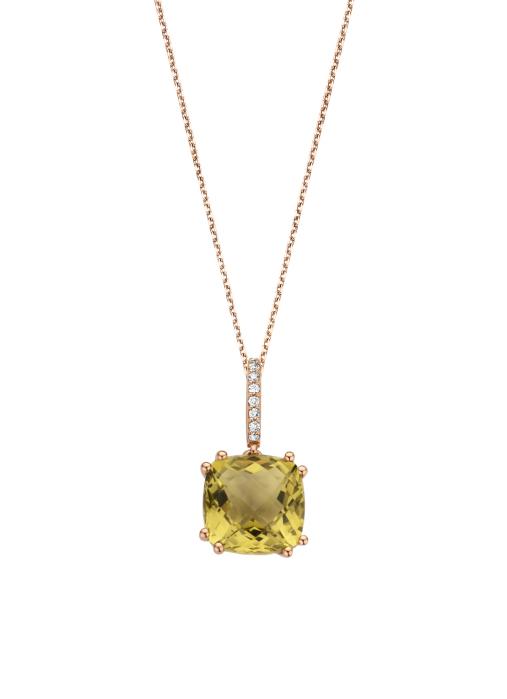 Diamond Point Roségouden hanger 3.40 ct olijf kwarts Colors