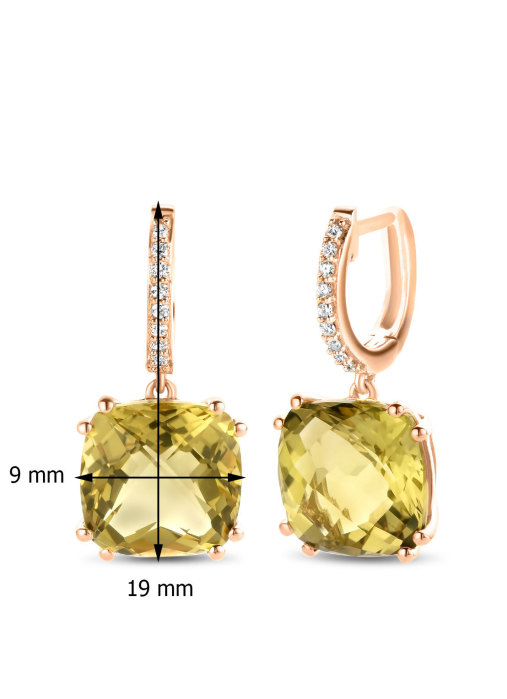 Diamond Point Roségouden oorsieraden 6.66 ct olijf kwarts Colors