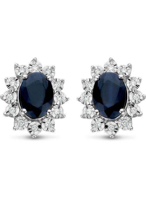 Diamond Point Colors earrings in 14 karat white gold