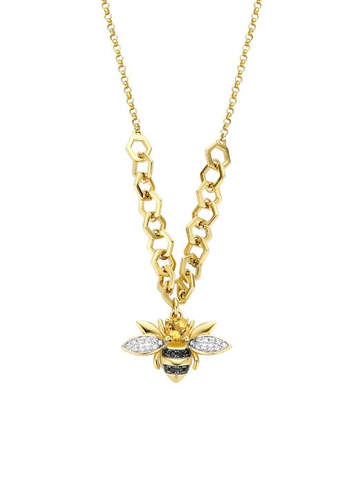 Diamond Point Geelgouden collier, 0.18 ct citrien, Queen Bee