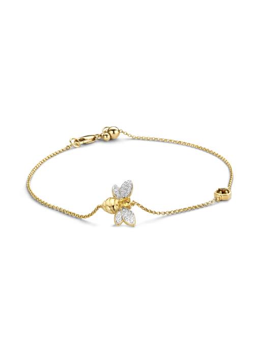 Diamond Point Queen bee bracelet in 14 karat yellow gold