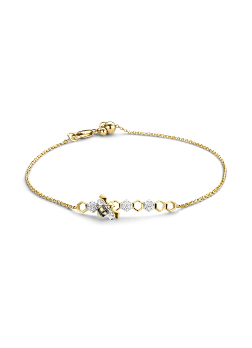 Diamond Point Queen bee bracelet in 14 karat yellow gold with white rhodium