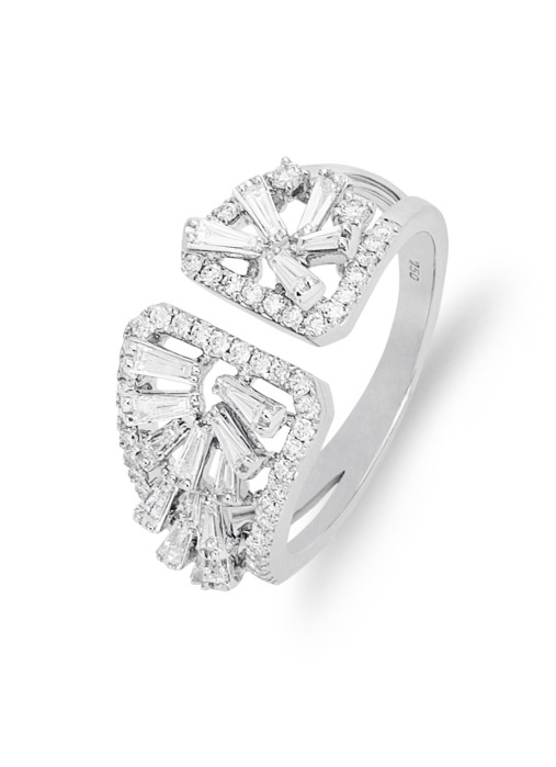 Diamond Point Gallery ring in 18 karat white gold
