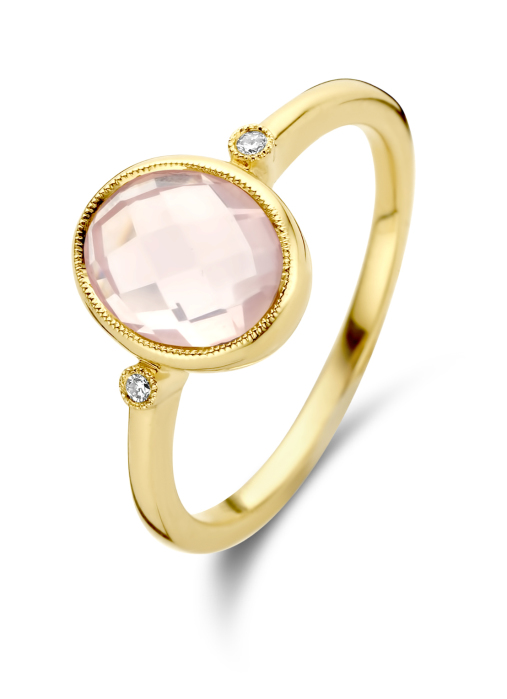 Diamond Point Geelgouden ring, 1.79 ct roze kwarts, Philosophy