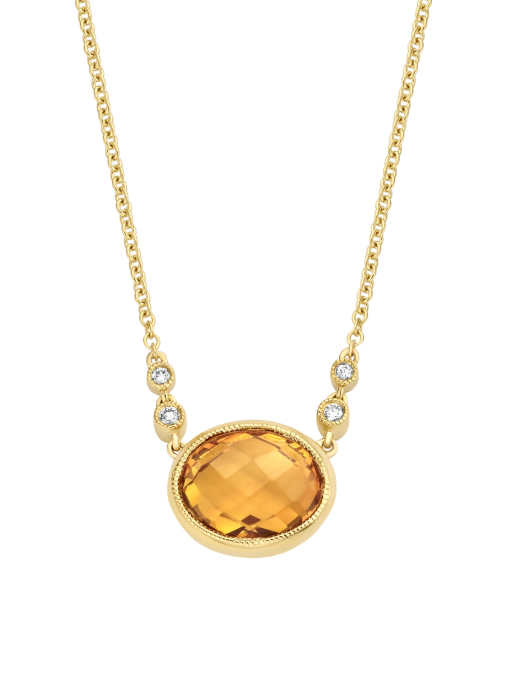 Diamond Point Geelgouden collier, 1.85 ct citrien, Philosophy