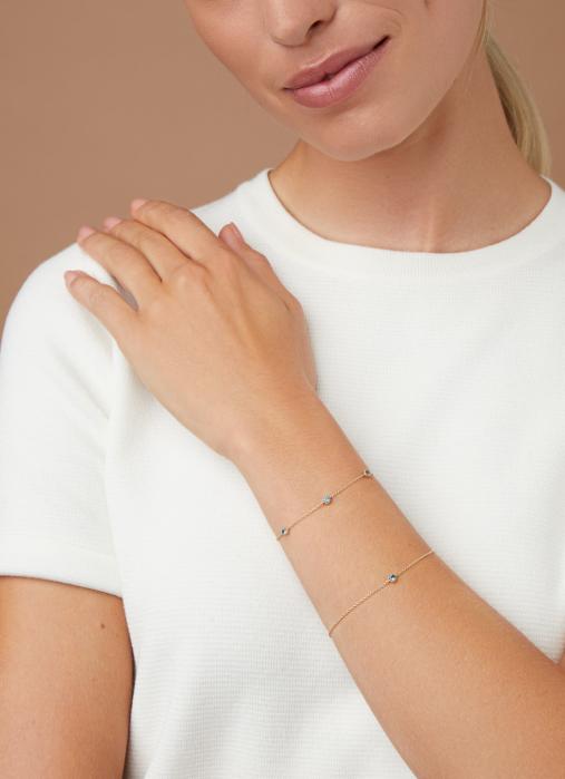 Diamond Point Geelgouden armband, 0.14 ct london topaas, Joy