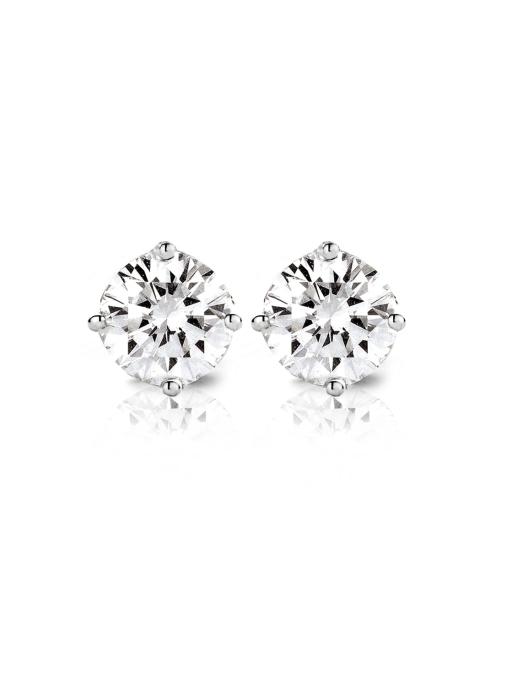 Diamond Point Solitair earrings in 18 karat white gold