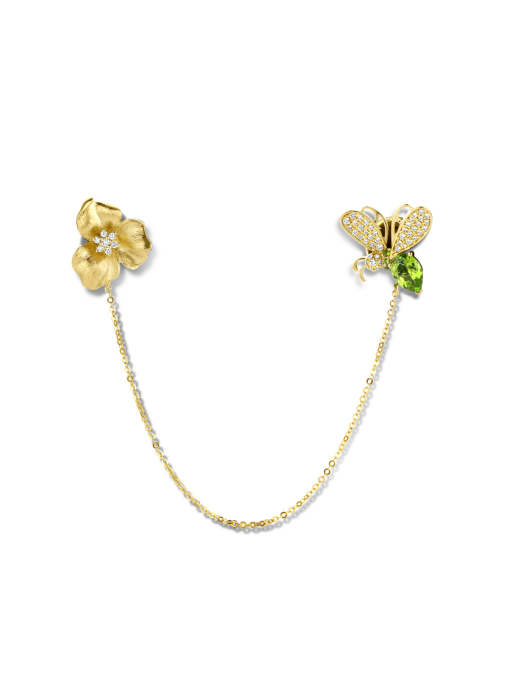 Diamond Point Geelgouden broche, 0.78 ct tsavoriet, Queen Bee