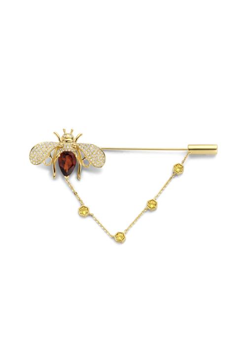 Diamond Point Geelgouden broche, 1.99 ct oranje citrien, Queen Bee