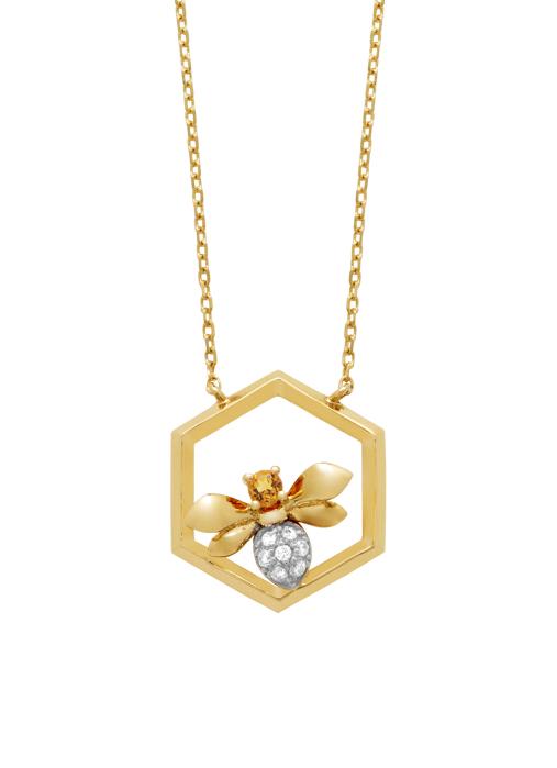 Diamond Point Geelgouden collier, 0.04 ct citrien, Queen Bee