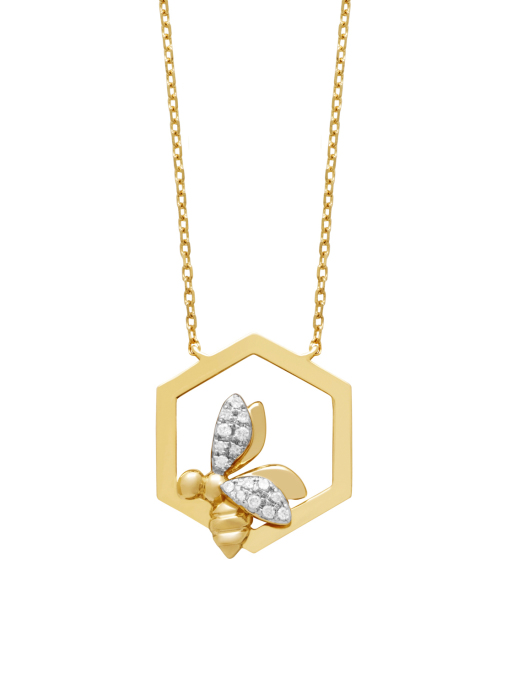 Diamond Point Queen Bee Halskette in 14K Gelbgold