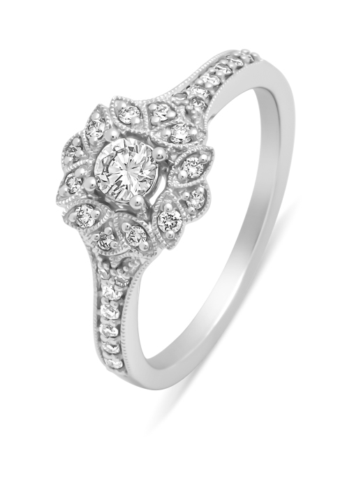 Diamond Point Witgouden ring, 0.40 ct diamant, Since 1904