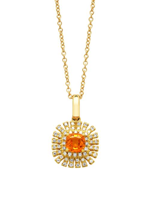 Diamond Point Geelgouden hanger, 0.46 ct oranje saffier ( bew, Kingsday collection