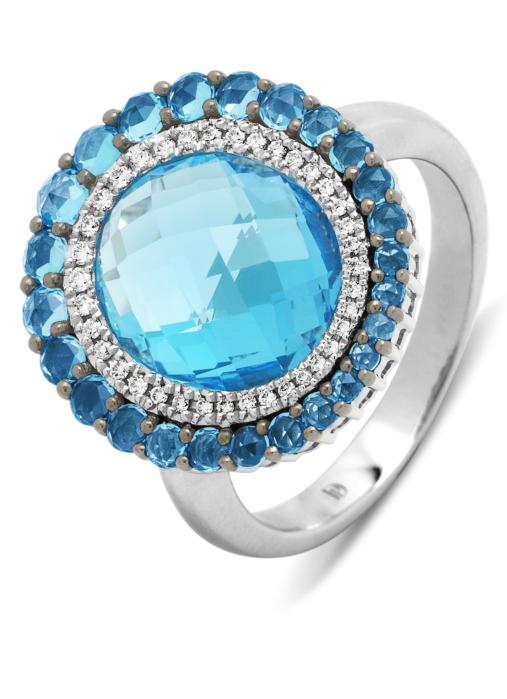Diamond Point Witgouden ring, 6.88 ct topaas, Opéra