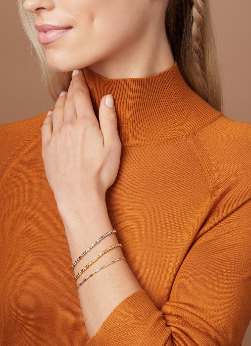 Diamond Point Ensemble bracelet in 18 karat yellow gold
