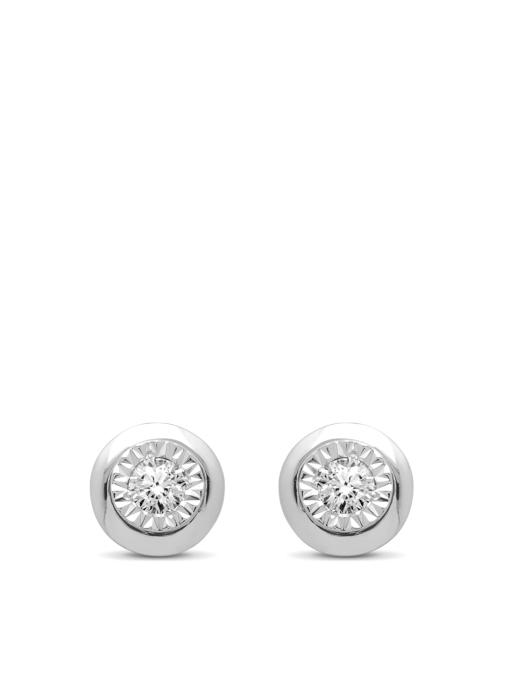 Diamond Point Solitair earrings in 14 karat white gold