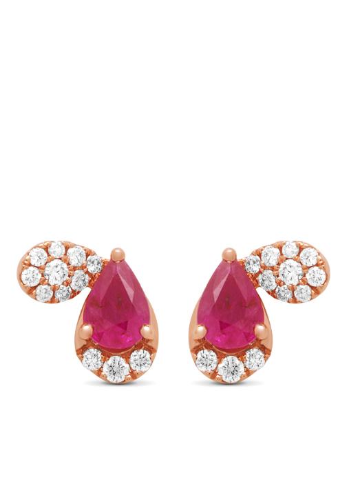 Diamond Point Colors earrings in 14 karat rose gold