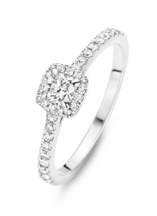 Diamond Point Witgouden ring, 0.44 ct diamant, Hearts & Arrows