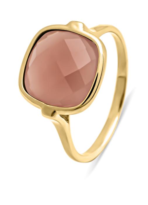 Diamond Point Geelgouden ring, 3.50 ct chalcedoon, Earth