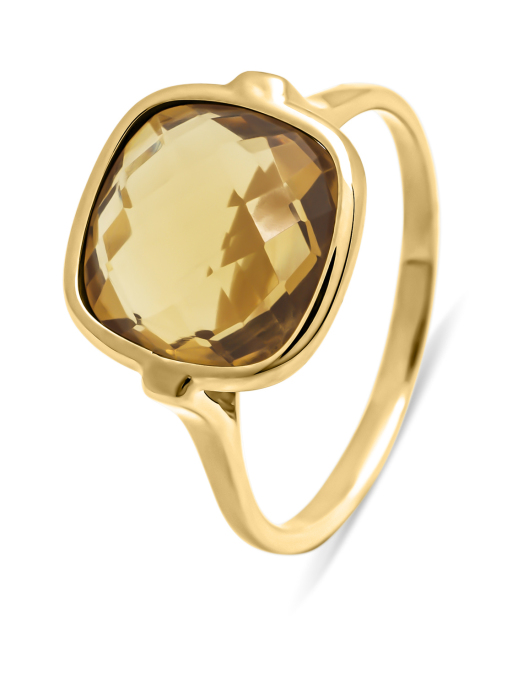 Diamond Point Earth ring in 14 karat yellow gold