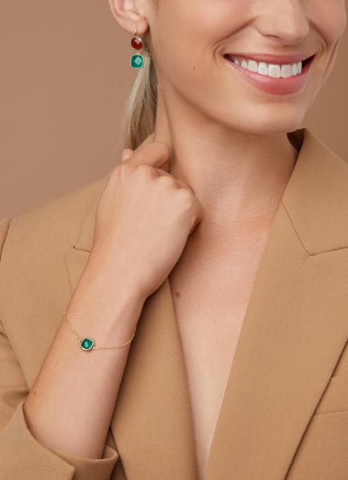 Diamond Point Geelgouden armband, 1.75 ct agaat, Earth
