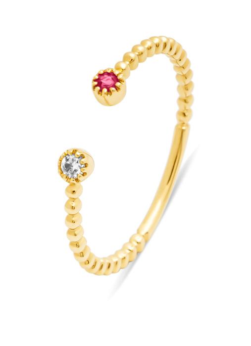 Diamond Point Geelgouden ring, 0.05 ct robijn ( behandeld), Joy