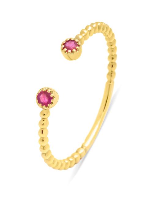 Diamond Point Geelgouden ring, 0.10 ct robijn ( behandeld), Joy