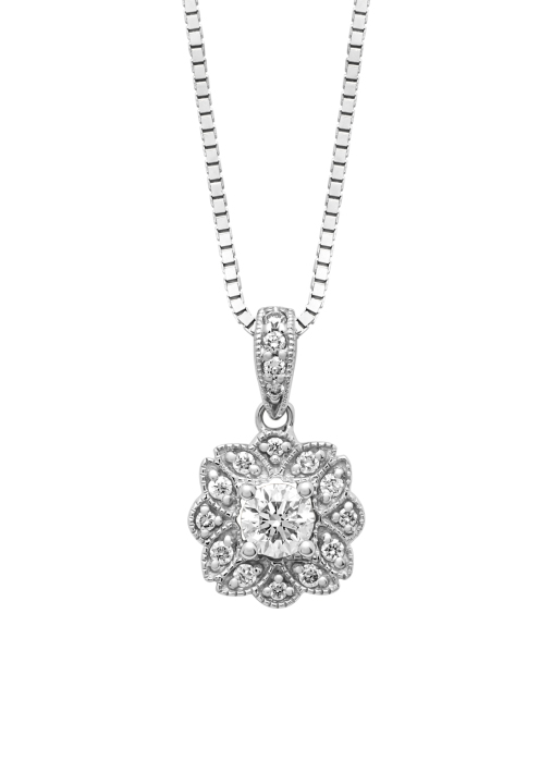 Diamond Point Since 1904 pendant in 14 karat white gold
