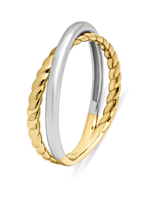 Diamond Point Circle of life ring in 14 karat yellow and whitegold