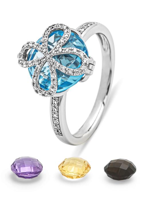 Diamond Point Witgouden ring, 4.98 ct topaas, Varié