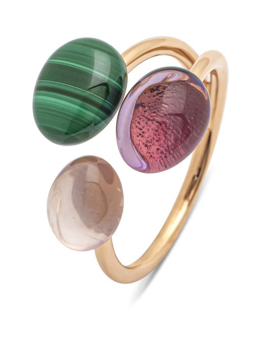 Diamond Point Roségouden ring, 3.79 ct malachiet, Little Drops