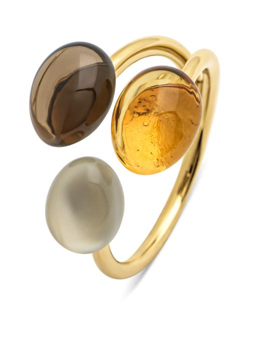 Diamond Point Geelgouden ring, 2.19 ct rookkwarts, Little Drops