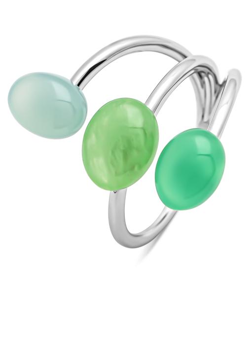 Diamond Point Witgouden ring, 2.48 ct groene jade, Little Drops