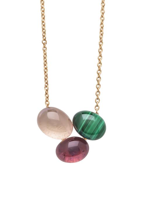 Diamond Point Roségouden collier, 2.81 ct malachiet, Little Drops