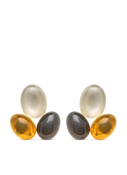 Diamond Point Geelgouden oorsieraden, 3.90 ct grijze maansteen, Little Drops
