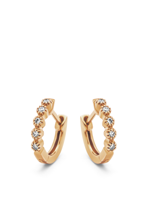 Diamond Point Roségouden oorsieraden, 0.09 ct diamant, Ensemble