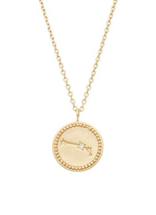 Diamond Point Geelgouden collier, Zodiac-Aries