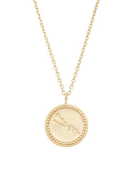Diamond Point Geelgouden collier, Zodiac-Taurus