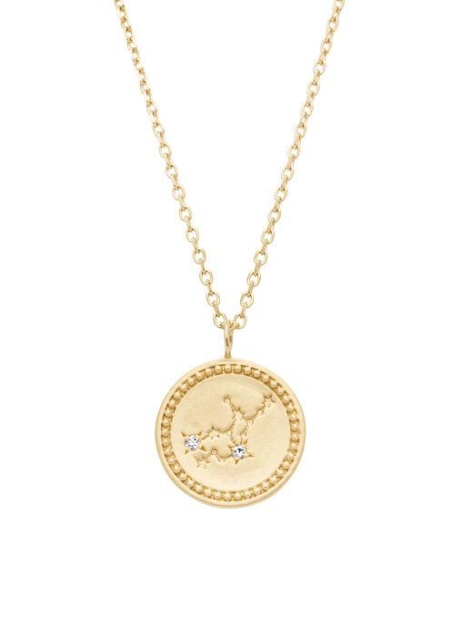 Diamond Point Geelgouden collier, Zodiac-Virgo