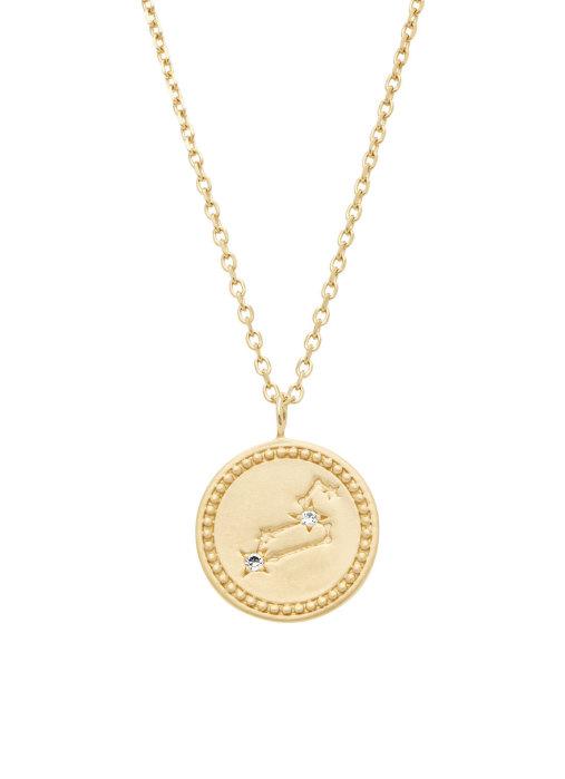 Diamond Point Geelgouden collier, Zodiac-Leo