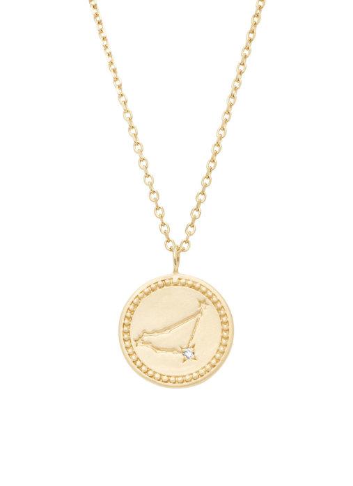 Diamond Point Geelgouden collier, Zodiac-Capricorn