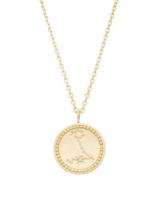 Diamond Point Geelgouden collier, Zodiac-Pisces