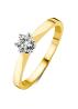 Diamond Point Groeibriljant stud ring in 18 karat yellow gold, 0.25 ct.